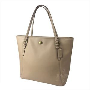 Coach Peyton Leather Zip Top Tote Sand